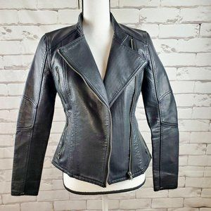 Blank NYC Faux Vegan Leather Fitted Black Jacket